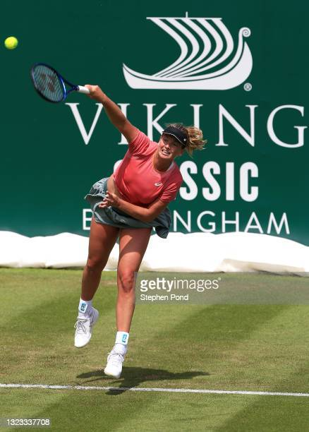 Coco Vandeweghe of USA in action against Kateryna Kozlova of Ukraine in qualifying during the Viking Classic Birmingham at Edgbaston Priory Club on...