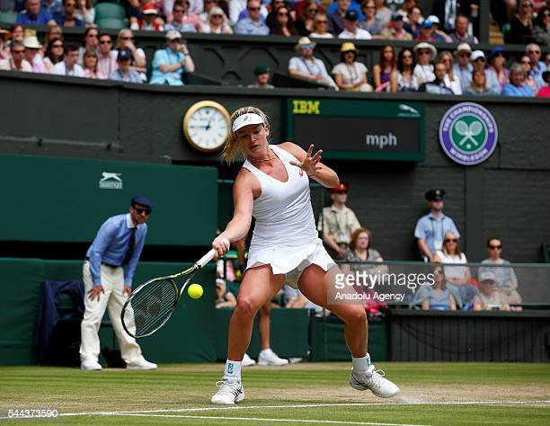 Coco Vandeweghe of USA in action against Roberta Vinci of Italy in the women's singles on day seven of the 2016 Wimbledon Championships at the All...