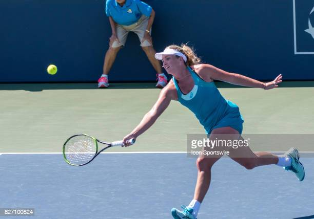 CoCo Vandeweghe places a forehand volley back during a WTA singles championship round at the Bank of the West Classic between at the Taube Family...