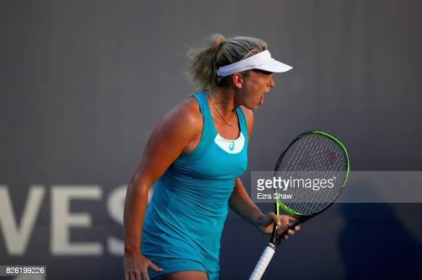 CoCo Vandeweghe reacts after winning a point against Nicole Gibbs during Day 4 of the Bank of the West Classic at Stanford University Taube Family...