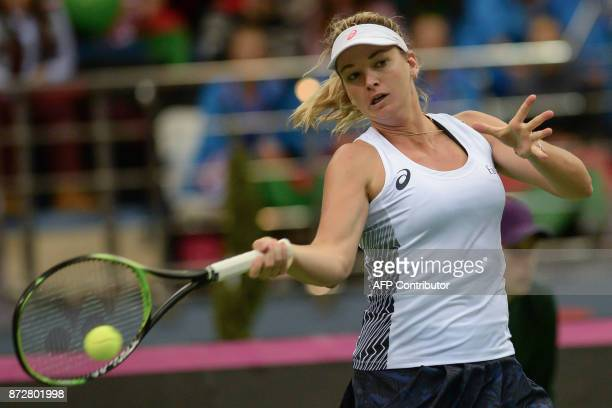 US Coco Vandeweghe returns the ball to Belarus' Aliaksandra Sasnovich on November 11 2017 in Minsk during their Fed Cup final tennis match between...