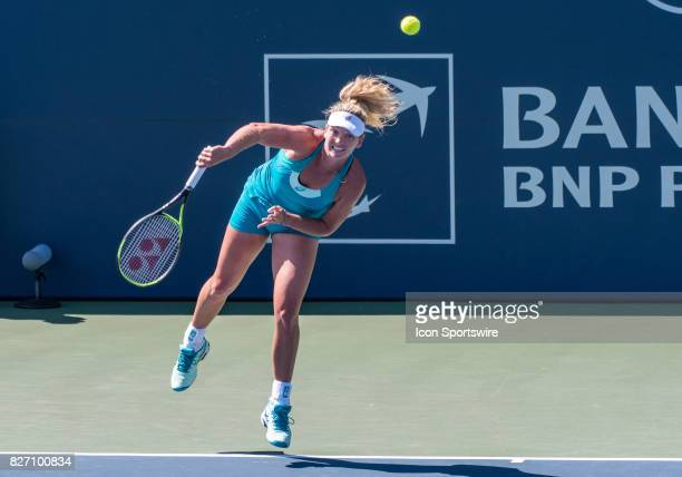 CoCo Vandeweghe serves in the second set during a WTA singles championship round at the Bank of the West Classic between at the Taube Family Tennis...