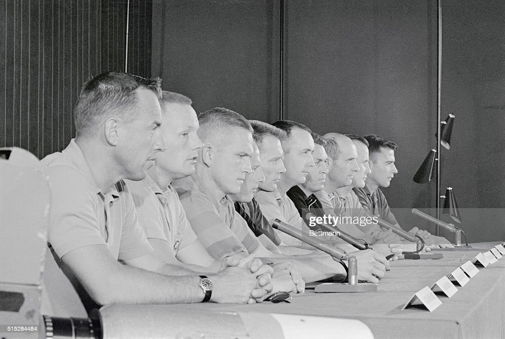 Astronauts at Press Conference : News Photo