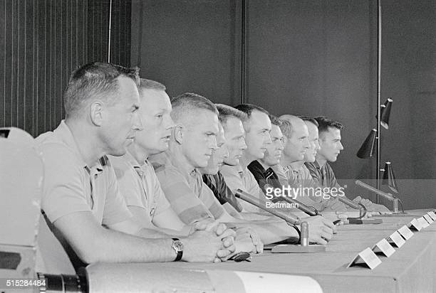 Nine new astronauts hold a press conference with original astronaut Maj Donald Slayton here From left Lt Comdr James Lovell Mr Neil Armstrong Maj...