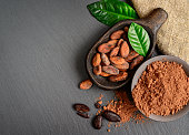 Cocoa beans and powder in old wooden bowl with green leaves