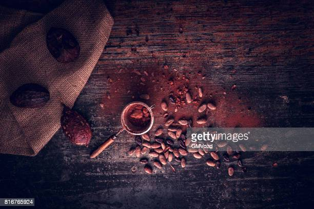 cocoa beans - theobroma stock photos and pictures