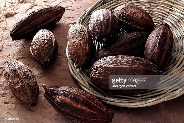 Cocoa beans, tipped from a wicker plate on sandstone