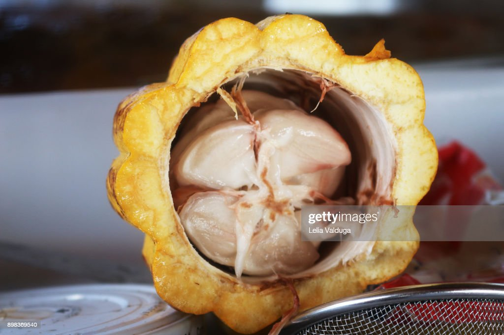 Cocoa - inner part of the fruit : Stock Photo