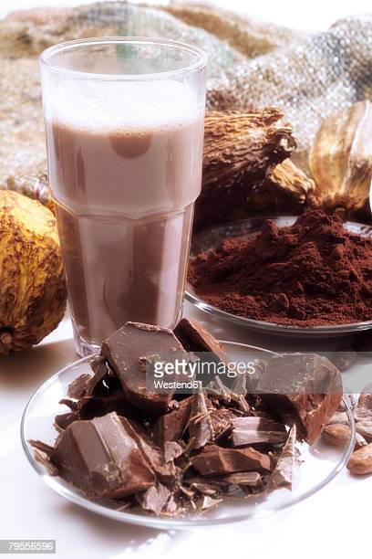 Cocoa pods and chocolate milkshake