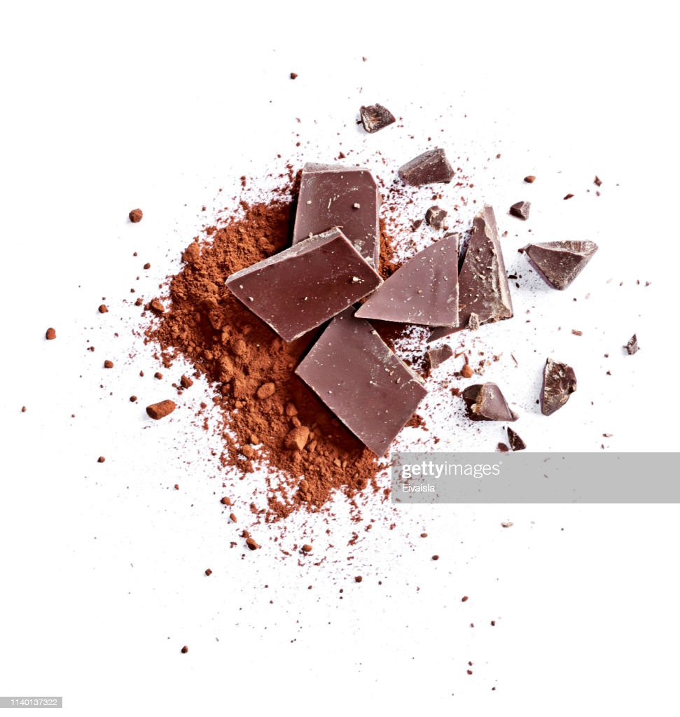 Cocoa powder and pieces of dark chocolate : Stock Photo