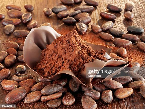 Cocoa powder in chocolate shell, cocoa beans