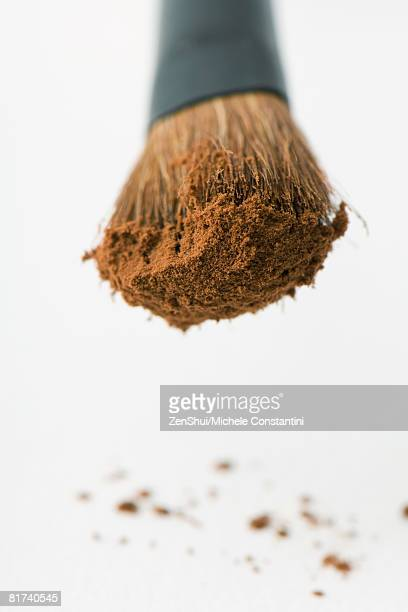 Cocoa powder on make-up brush, close-up