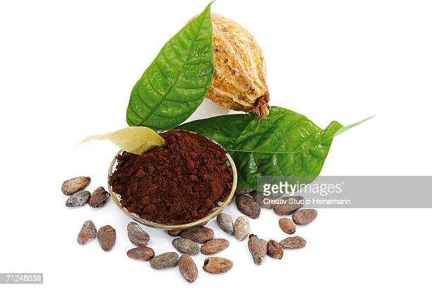 Cocoa powder with beans and leaves, close-up