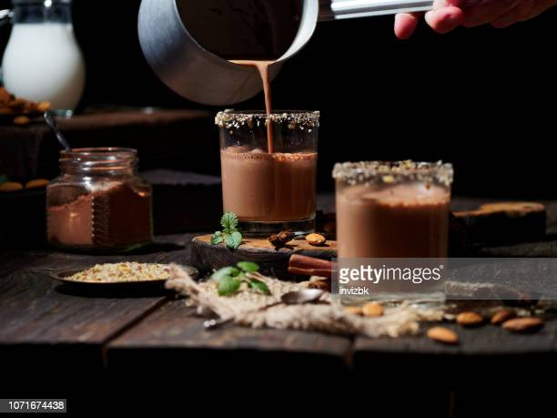 cocoa with almond milk - hot chocolate stock pictures, royalty-free photos & images
