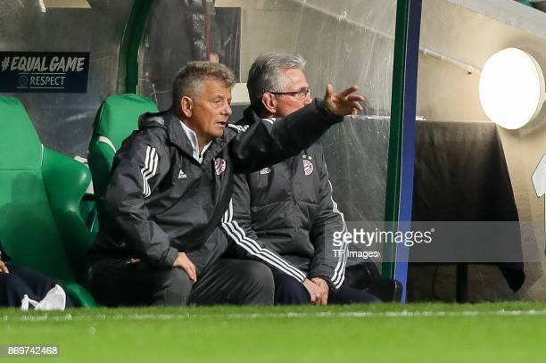 Cocoach Peter Hermann of Bayern Munich gestures during the UEFA Champions League group B match between Celtic FC and Bayern Muenchen at Celtic Park...