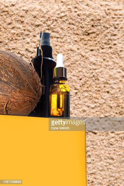 coconut and coconut beauty products. - coconut oil stock pictures, royalty-free photos & images