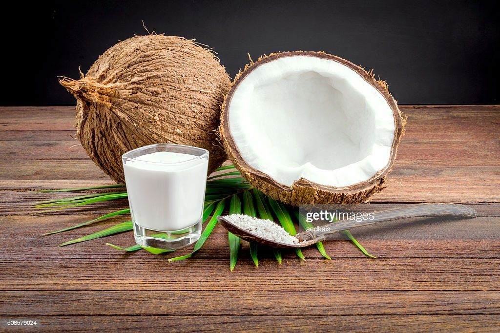 Coconut and coconut milk in glass : Stock Photo