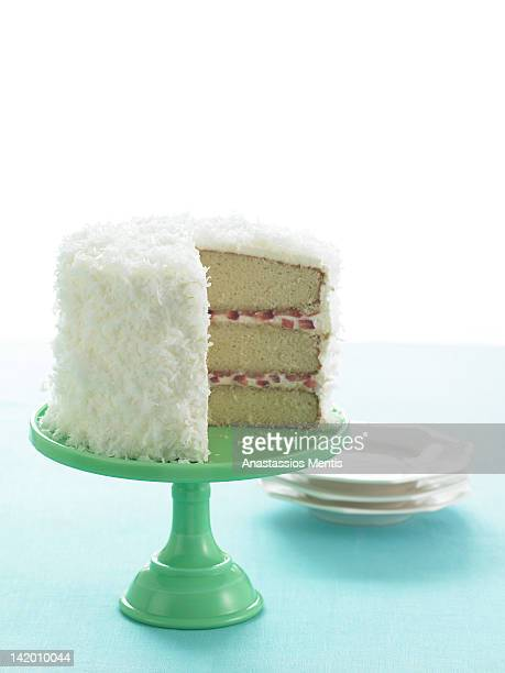 Coconut cake on stand