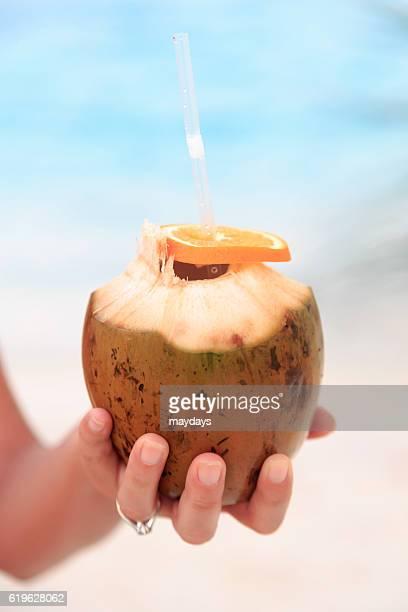 Coconut drink in Maldives resort