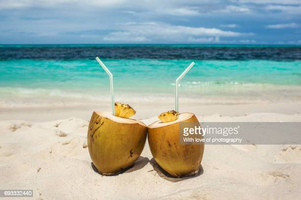 coconut drinks on beach in maldives, vacation in paradise, sunny day in topical island - coconut water stock pictures, royalty-free photos & images