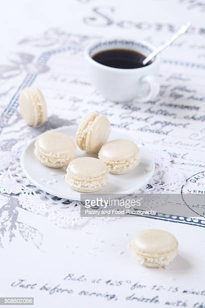 Coconut Macarons with White Chocolate Cream Cheese Filling