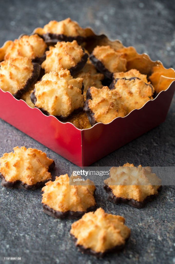 Coconut Macaroon Cookies In Box High Res Stock Photo Getty Images