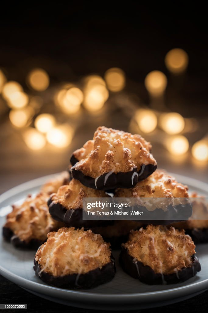 Coconut Macaroons With Chocolate Special Christmas Cookies Stock