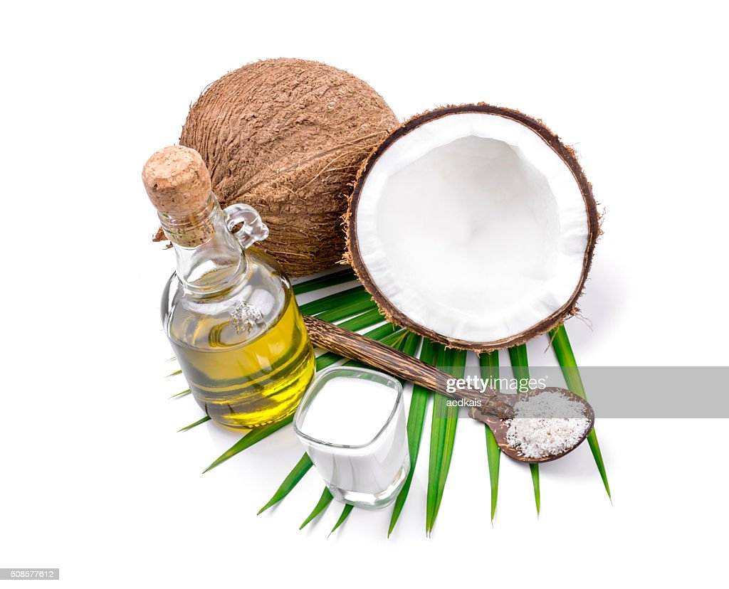 Coconut milk and coconut oil : Bildbanksbilder