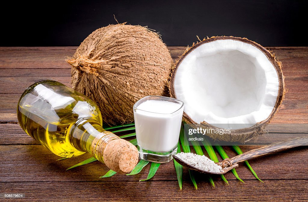 Coconut milk and coconut oil : Stock Photo