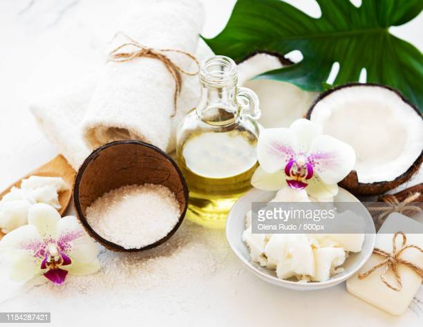 coconut natural spa ingredients - coco brown stock-fotos und bilder