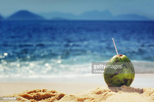 coconut on the beaches of rio de janeiro - copacabana beach stock pictures, royalty-free photos & images