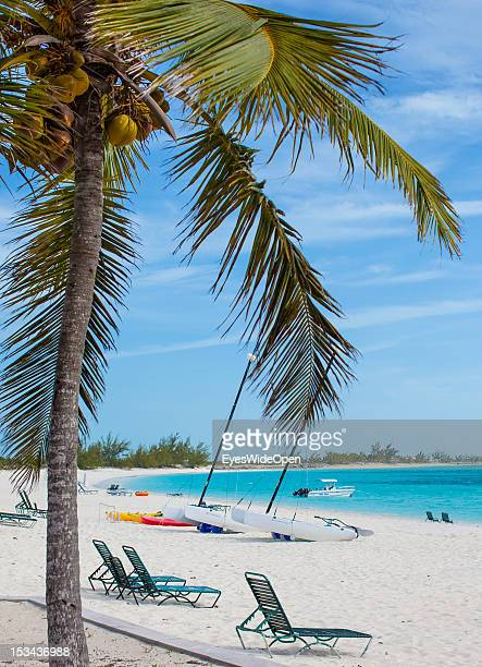 Coconut palm tree, empty sunbeds, sailing boat at the white sandy beach of luxury Resort and Hotel Cape Santa Maria which is having one of the...