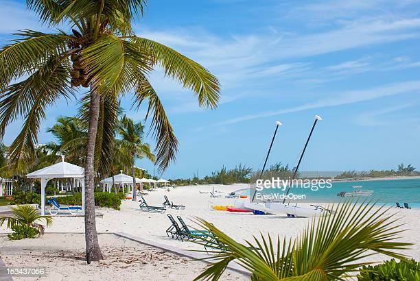Coconut palm trees empty sunbeds and katamaran sailing boats at the white sandy beach of luxury Resort and Hotel Cape Santa Maria which is having one...
