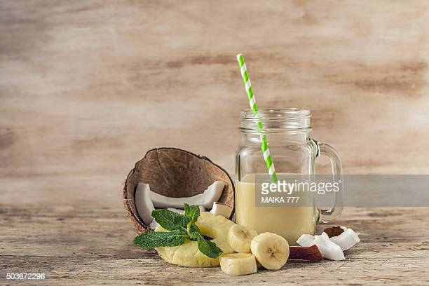 Coconut, pineapple and banana smoothie.