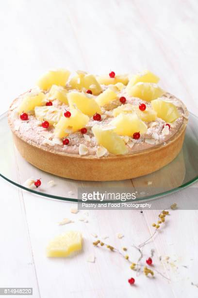 Coconut Tart with Guava Topping Cream and Pineapple Slices