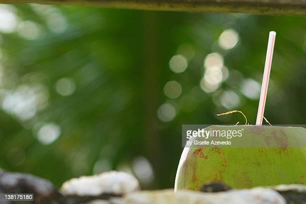Coconut through straw