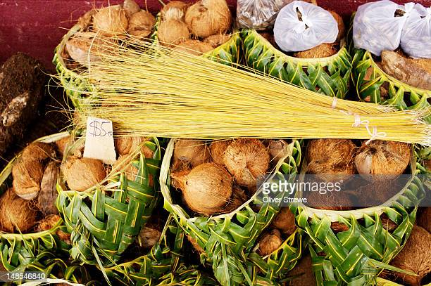 coconuts for sale at central market. - nuku'alofa stock pictures, royalty-free photos & images