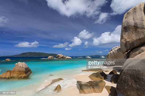 Cocos island beach and boulders in Seychelles