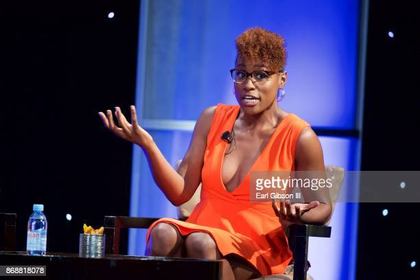 CoCreator Executive Producer Lead Actress Issa Rae speaks onstage at the HRTS Hosts Annual Hitmakers Luncheon at The Beverly Hilton Hotel on October...