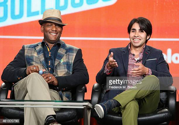 Co-Creator Jonathan Butler and co-creator Gabe Garza speak onstage during the 'Bella and the Bulldogs ' panel at the Nickelodeon portion of the 2015...