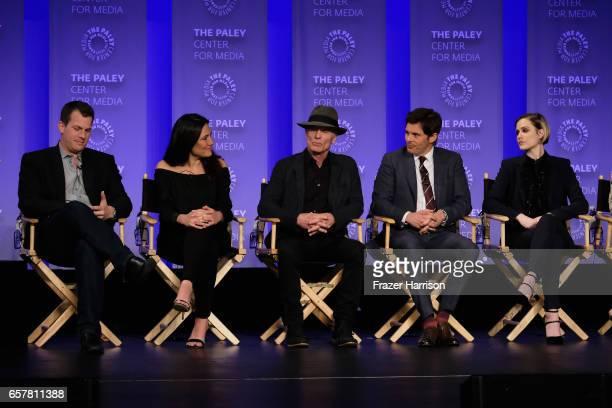 CoCreator Jonathan Nolan Lisa Joy Ed Harris James Marsden Evan Rachel Wood attend Westworld screnning and panel at The Paley Center For Media's 34th...