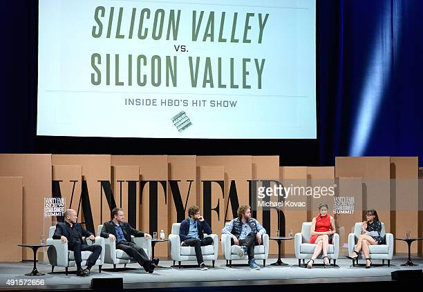 Cocreator Mike Judge Executive Producer Alec Berg actors Thomas Middleditch T J Miller Amanda Crew and Rashida Jones speak onstage during Silicon...