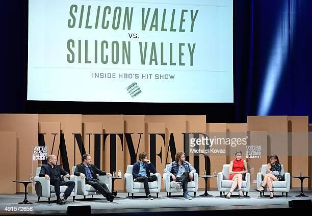 Co-creator Mike Judge, Executive Producer Alec Berg, actors Thomas Middleditch, T. J. Miller, Amanda Crew and Rashida Jones speak onstage during...