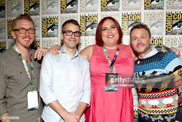 Cocreator Mike Owens actor Eric Knobel cocreator/comic strip author Shadi Petosky and Chris Hardwick attend Amazon's 'Danger Eggs' panel at San Diego...