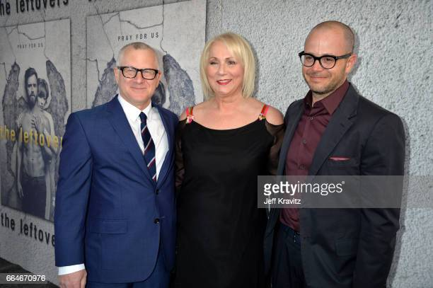 Cocreator Tom Perrotta director Mimi Leder and showrunner Damon Lindelof attend HBO's The Leftovers season 3 premiere and after party at Avalon...