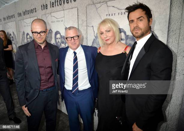 Cocreator Tom Perrotta showrunner Damon Lindelof director Mimi Leder and actor Justin Theroux attend HBO's The Leftovers season 3 premiere and after...