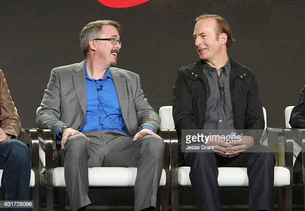 Cocreator Vince Gilligan and actor Bob Odenkirk speak onstage during the AMC presentation of The SON HUMANS Season 2 Better Call Saul Season 3 on...