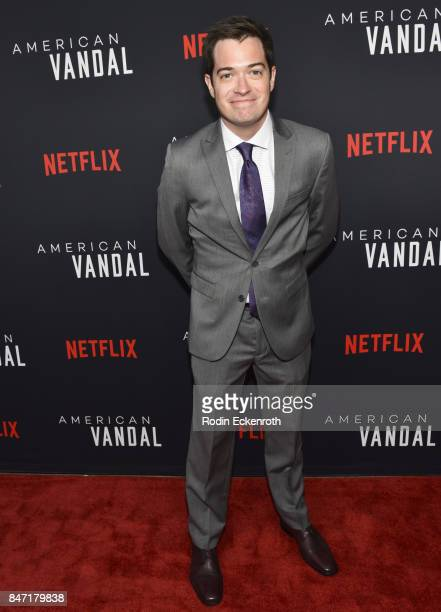 CoCreator/Executive Producer Daniel Perrault attends the premiere of Netflix's American Vandal at ArcLight Hollywood on September 14 2017 in...