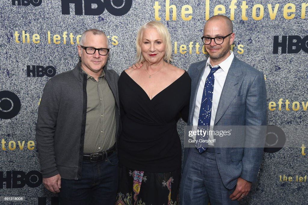 Co-creator/executive producer Tom Perrotta, executive producer/director Mimi Leder and co-creator/executive producer Damon Lindelof attend 'The Leftovers' screening at Metrograph on June 1, 2017 in New York City.