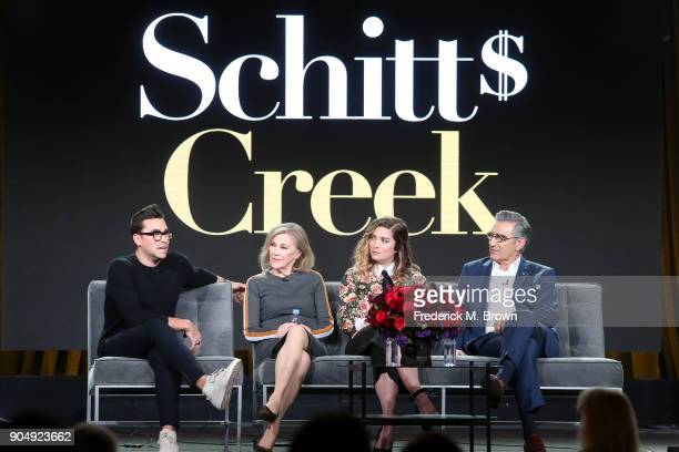 Co-creator/Executive producer/Actor Daniel Levy, actors Catherine O'Hara and Annie Murphy, and co-creator/executive producer/actor Eugene Levy of...